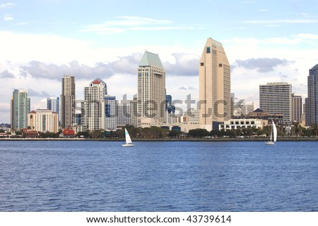 San Diego skyline & sailboats. - stock photo