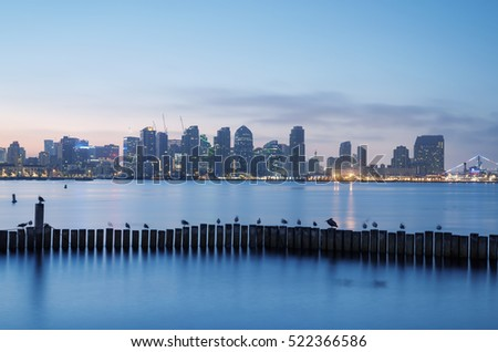 San Diego Skyline, San Diego Harbor, dawn. San Diego, California, USA.