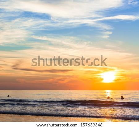 San Diego Sunset at La Jolla Shores San Diego, Southern California USA - stock photo