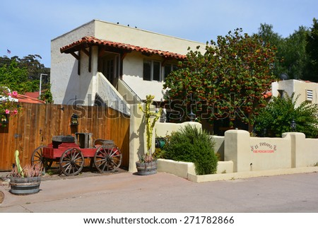 SAN DIEGO USA APRIL 05: House in Old Town San Diego State Historic Park, located in the Old Town of San Diego, California, is a state protected historical park. On april 05 2015 in San Diego CA USA - stock photo