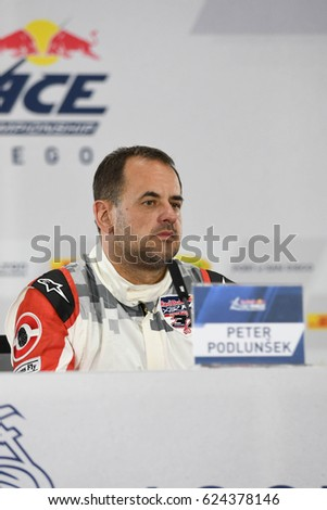 San Diego, USA - April 16, 2017: Peter Podlunsek during press conference the Red Bull Air Race World Championship.
