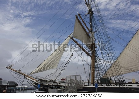 SAN DIEGO, USA - AUGUST 19 2013: The Maritime Museum of San Diego, that features a world-class collection of historic vessels. Sailing Boats close up - stock photo