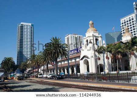 SAN DIEGO, USA - AUGUST 30: train arrives at Union Station on August 30, 2012 in San Diego, USA. The Spanish Colonial Revival style station as Santa Fe Depot. - stock photo