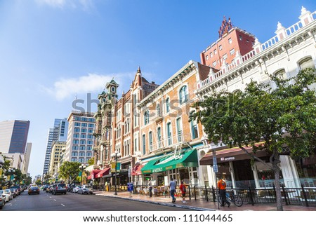SAN DIEGO, USA - JUNE 11: facade of houses in the gaslamp quarter on June 11,2012 in San Diego, USA. The area is a historic district on the National Register of Historic Places and dates back to 1867.