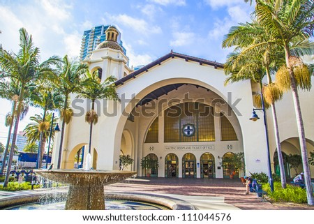SAN DIEGO, USA - JUNE 11: famous Union Station on June 11, 2012 in San Diego, USA. The Spanish Colonial Revival style station opened on March 8, 1915 as Santa Fe Depot. - stock photo