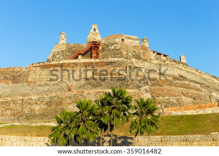 San Felipe de Barajas fortress. Castle is on a hill overlooking the Cartagena de Indias city in Colombia.