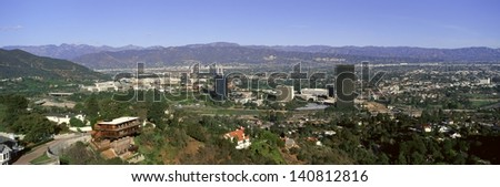 San Fernando Valley on a clear day with Transverse Ranges in the background, Los Angeles, California - stock photo