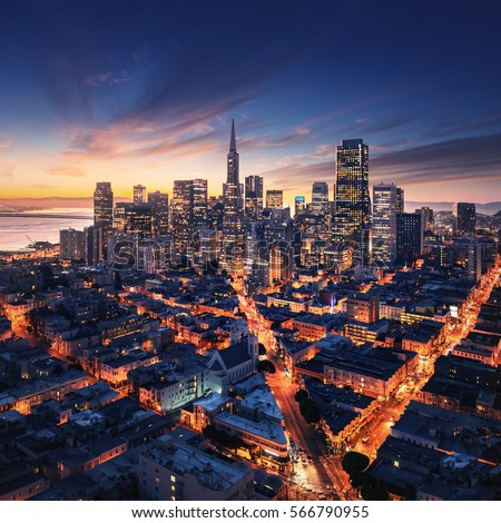 san francisco aerial view from sea side port of san francisco in the front