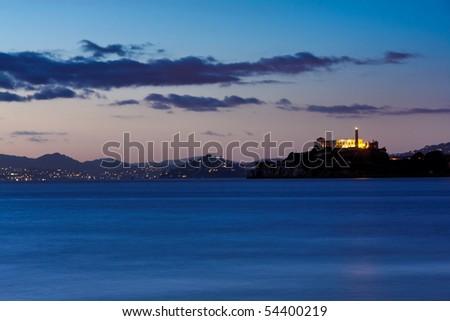 San Francisco, Alcatraz and sausalito as seen from Pier 39 - stock photo