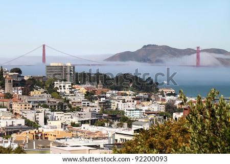 San Francisco and Golden Gate Bridge, California - stock photo