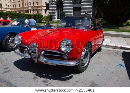 SAN FRANCISCO - APRIL 24: A 1957 Alfa Romeo Giulietta Spider Veloce is on display during the 2011 California Mille show in Nob Hill in San Francisco on April 24, 2011