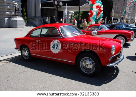 SAN FRANCISCO - APRIL 24: A 1957 Alfa Romeo Giulietta Sprint Veloce is on display during the 2011 California Mille show in Nob Hill in San Francisco on April 24, 2011