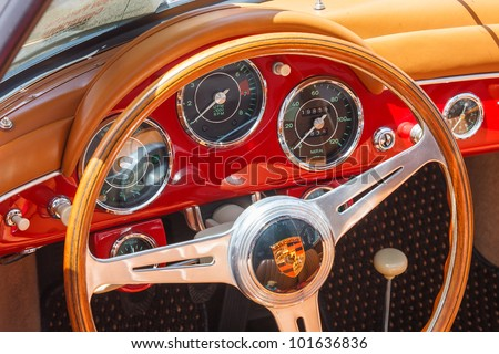 SAN FRANCISCO - APRIL 29: A 1959 Porsche Convertible is on display during the 2012 California Mille show in Nob Hill in San Francisco on April 29, 2012 - stock photo