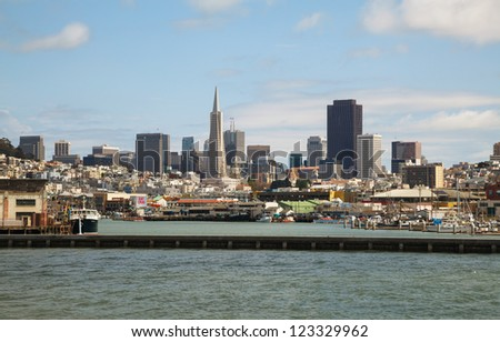 SAN FRANCISCO - APRIL 24: Downtown of San Francisco as seen from seaside on April 24, 2012. It's the leading financial and cultural center of Northern California and the San Francisco Bay Area. - stock photo