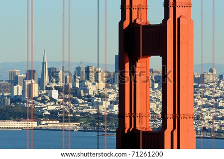 San Francisco as viewed through the Golden Gate Bridge in San Francisco, California
