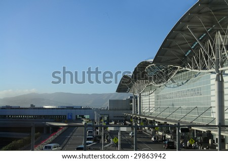 SAN FRANCISCO - AUG 2: Fog descends on San Francisco Airport on Aug 2, 2008. The airport is planning to redesign its former international terminal, which will become a new domestic terminal. - stock photo