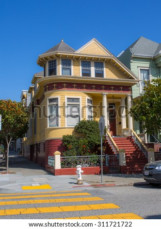 SAN FRANCISCO - August 2015: Historic victorian house in San Francisco, CA - stock photo