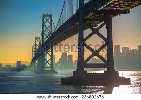 San Francisco Bay Bridge during sunset - stock photo