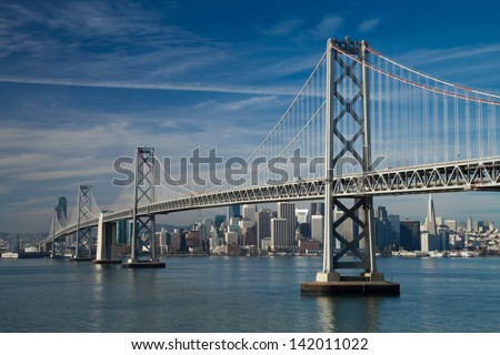 San Francisco Bay bridge in the morning - stock photo