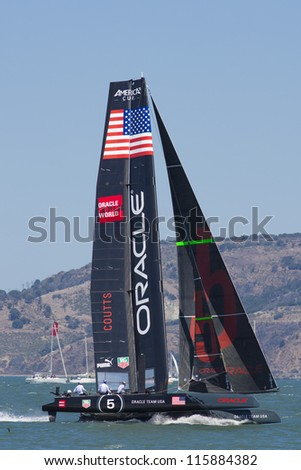 SAN FRANCISCO, CA - AUGUST 26: American team in the bay of San Francisco during the final of the America's Cup 2012. Aug 26 2012 - stock photo
