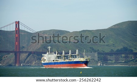 SAN FRANCISCO, CA - FEBRUARY 26, 2015: NORD YILAN entering San Francisco Bay under the Golden Gate Bridge in route to Richmond. The San Francisco Bay is one of the great natural harbors of the world. - stock photo