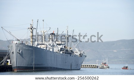 SAN FRANCISCO, CA - FEBRUARY 26, 2015: The SS JEREMIAH O'BRIEN, one of two remaining fully functional Liberty ships from World War II, has the distinction of being the last unaltered Liberty ship.