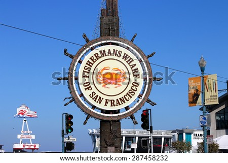SAN FRANCISCO, CA - JANUARY 2: Famous Fisherman's Wharf sign on January 2, 2015 in San Francisco. Fisherman's Wharf is a neighborhood and popular tourist attraction in California.