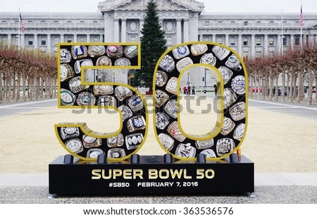 SAN FRANCISCO, CA -5 JANUARY 2016- Sign for the NFL Super Bowl 50, to be held in the Levi Stadium in Santa Clara on February 7 between the Denver Broncos and Carolina Panthers, in front of City Hall. - stock photo