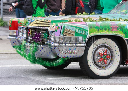 SAN FRANCISCO, CA - MARCH 17: A custom painted and decorated Cadillac during the St. Patric's Day Parade. March 17, 2012 in San Francisco, CA