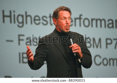 SAN FRANCISCO, CA-OCT 2 : CEO of Oracle Larry Ellison makes his first speech at Oracle OpenWorld conference in Moscone center on Oct 2, 2011 in San Francisco. - stock photo