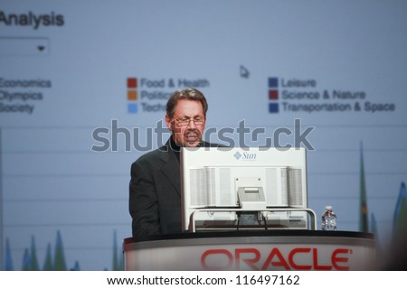 SAN FRANCISCO, CA, OCT 2, 2012 - CEO of Oracle Larry Ellison makes his second speech at Oracle OpenWorld conference in Moscone center on Oct 2, 2012. He is one of richest US persons - stock photo