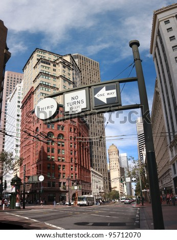SAN FRANCISCO, CA - OCT 2: The Ritz-Carlton Destination Club vintage building designed by architects Daniel Burnham and John Root at the corner Market and Kearny Streets on October 2, 2011 - stock photo