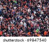 SAN FRANCISCO, CA - OCTOBER 20: Giants Fans Cheer for players to rally during game 4 of the 2010 NLCS game between Giants and Phillies Oct. 20, 2010 AT&T Park San Francisco, CA. - stock
