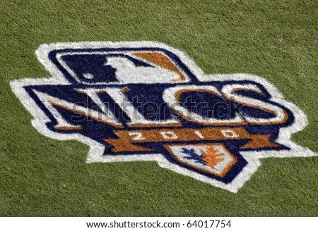 SAN FRANCISCO, CA - OCTOBER 19: Giants vs. Phillies: NLCS 2010 Logo painted on the grass field at game three of the NLCS 2010 October 19, 2010 AT&T Park San Francisco. - stock photo