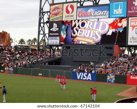 SAN FRANCISCO, CA - OCTOBER 28: Rangers players standing in the outfield during batting practice game 2 of the 2010 World Series game between Giants and Rangers Oct. 28, 2010 AT&T Park San Francisco. - stock photo