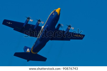 SAN FRANCISCO, CA - OCTOBER 8: US Navy Lockheed-Martin C-130T Hercules, affectionately known as Fat Albert Airlines, performs during 2011 Fleet Week on October 8, 2011 in San Francisco, CA. - stock photo