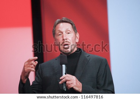 SAN FRANCISCO, CA, SEPT 30, 2012 - CEO of Oracle Larry Ellison makes his first speech at Oracle OpenWorld conference in Moscone center on Sept 30, 2012. He is one of richest US persons - stock photo