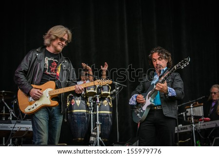 San Francisco, CA USA - August 11, 2013: Daryl Hall and John Oats performing at the 2013 Outside Lands music festival in Golden Gate Park.  - stock photo