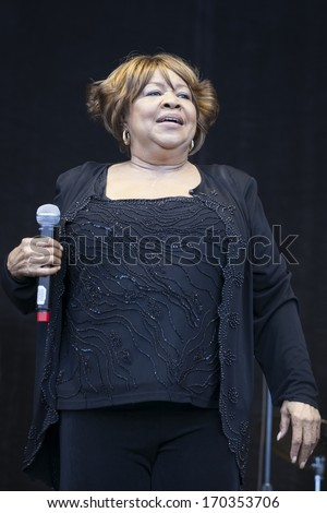 San Francisco, CA USA - August 14, 2011: Mavis Staples performing live, on stage at the 2011 Outside Lands music festival in Golden Gate Park.  - stock photo