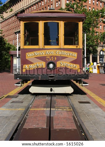 San Francisco Cable Car at California Street Terminal - stock photo