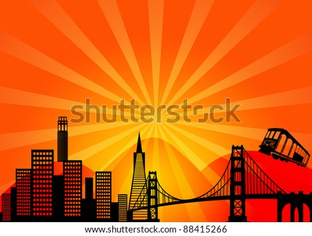 San Francisco California City Skyline and Golden Gate Bridge Illustration - stock photo