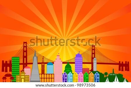 San Francisco California City Skyline Panorama Color Silhouette with Sun Rays Clip Art Illustration - stock photo