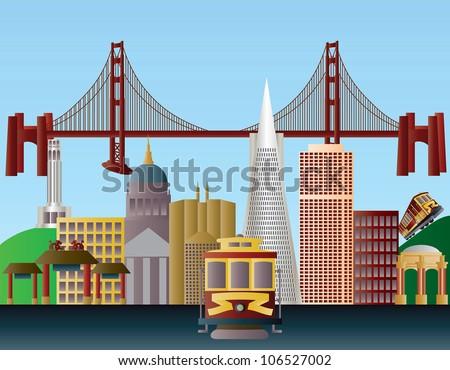 San Francisco California City Skyline with Golden Gate Bridge Raster Vector Illustration - stock photo