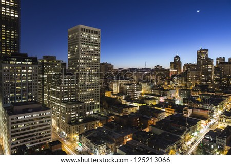 SAN FRANCISCO, CALIFORNIA - JAN 13: Dusk view of Nob Hill and Chinatown.  San Francisco's 80% hotel occupancy has pushed average room rates above $155 a night on January 13, 2013 in San Francisco, Ca. - stock photo