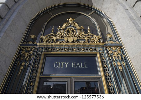 SAN FRANCISCO, CALIFORNIA - JAN 14:  Historic City Hall.  The city's Board of Supervisors approved a first ever two year balanced budget for 2012-2014 on January 14, 2013 in San Francisco, CA. - stock photo