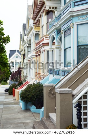 San Francisco, California, the colored traditional houses of Alamo square