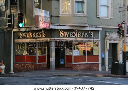 San Francisco, California, USA - December 23, 2015: The first Swensen's, a global chain of ice cream restaurant, was started in 1948 by Earle Swensen at the corner of Union and Hyde Streets.