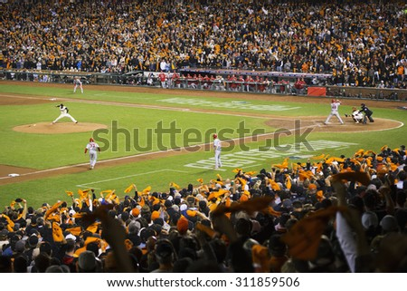 San Francisco, California, USA, October 16, 2014, AT&T Park, baseball stadium, SF Giants versus St. Louis Cardinals, National League Championship Series (NLCS), crowd watches game - stock photo