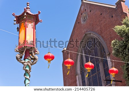 San Francisco Chinatown Street Light with Dragons and Lanterns - stock photo