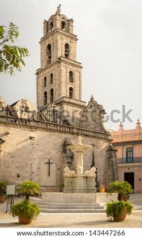 San Francisco Church and Square, a tourist landmark in Old Havana - stock photo